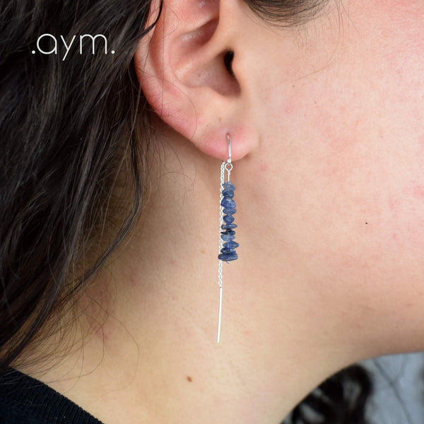 Sapphire Crystal Chain Threader Earrings - aymcollections