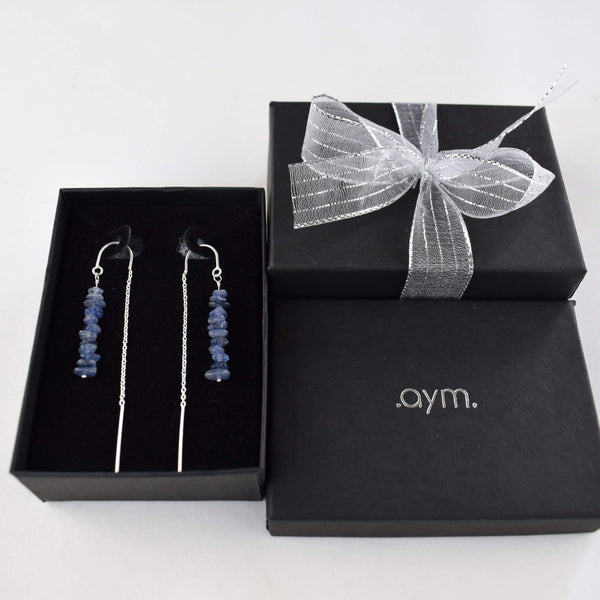 Sapphire Crystal Chain Threader Earrings in Gift Box - aymcollections