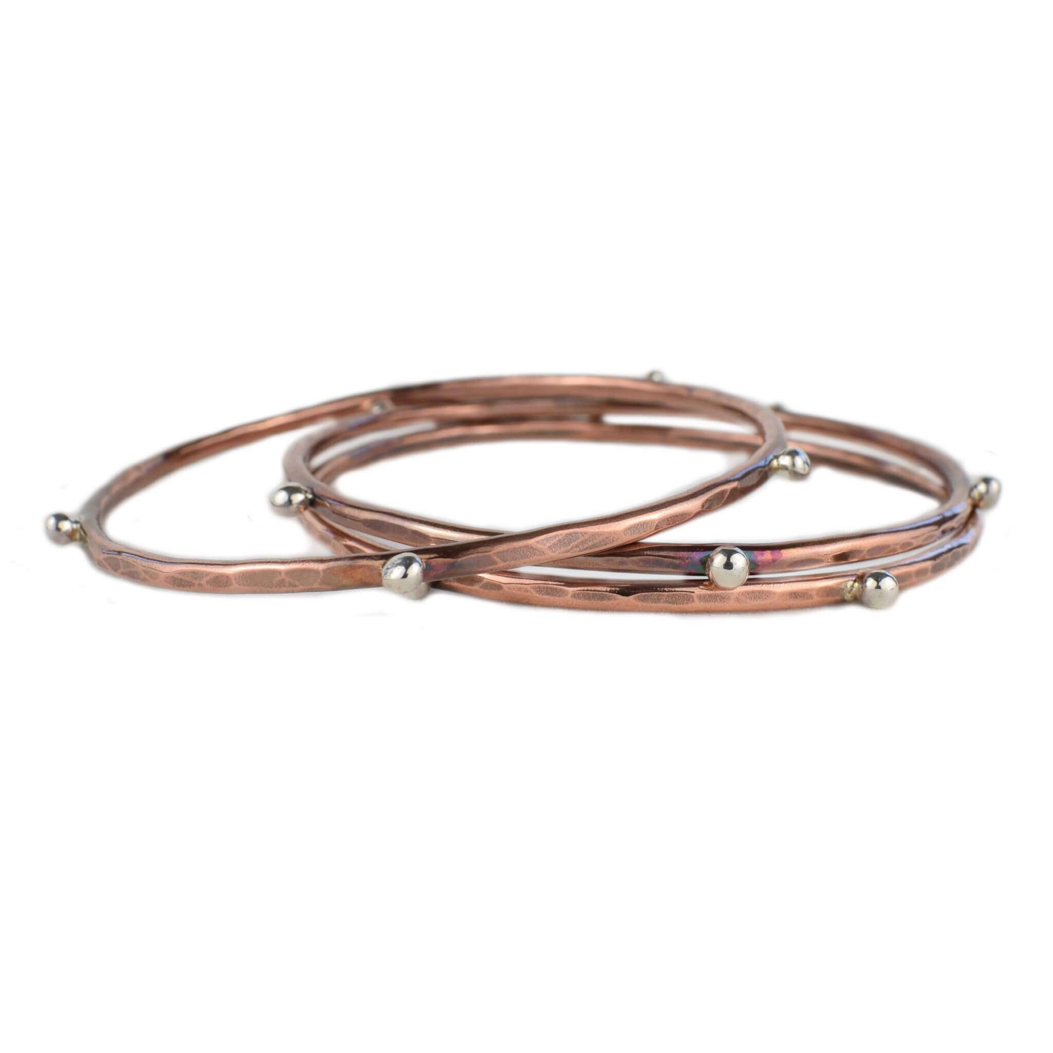Silver Studded Copper Bangle Bracelets - aymcollections