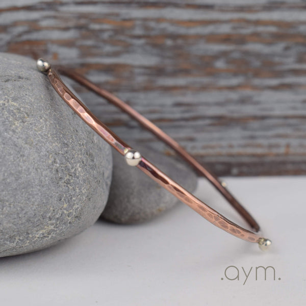 Silver Studded Copper Bangle Bracelet - aymcollections