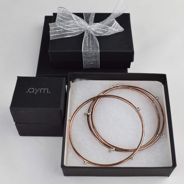 Silver Studded Copper Bangle Bracelets in Gift Box - aymcollections