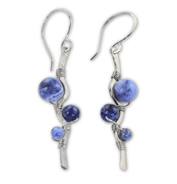 Sodalite Sterling Silver Dangle Earrings - aymcollections