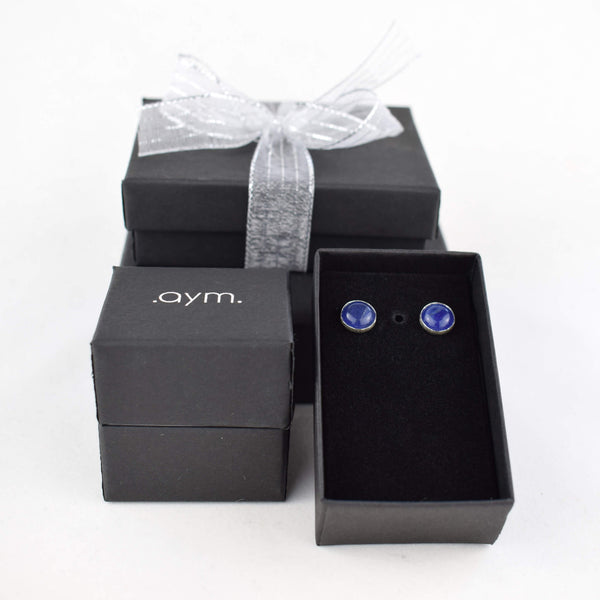 Sodalite Stud Earrings in Gift Box - aymcollections