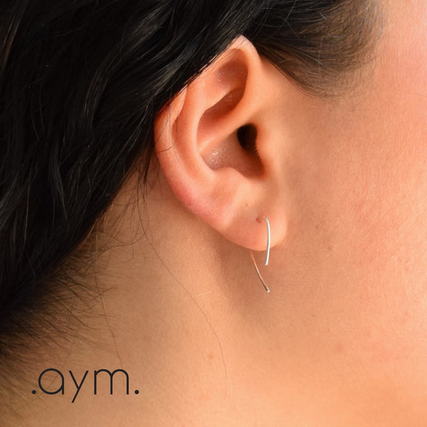 Sterling Silver Angled Threader Earrings - aymcollections