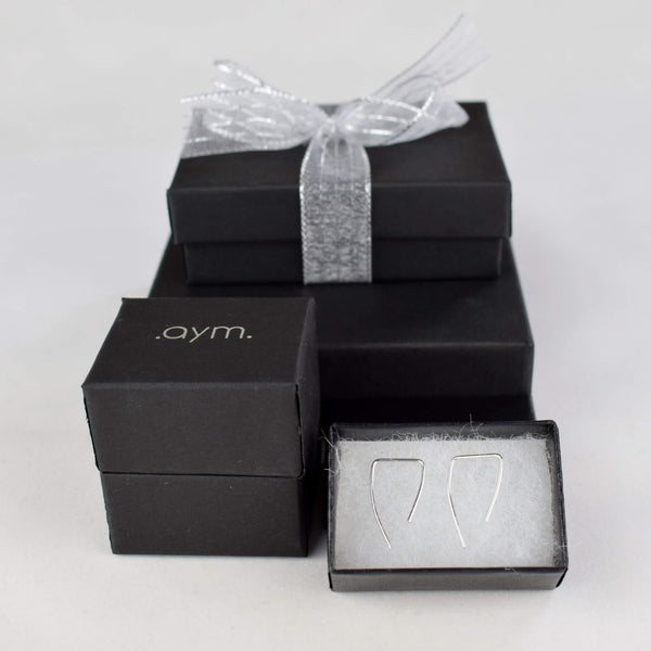 Sterling Silver Angled Threader Earrings in Gift Box - aymcollections