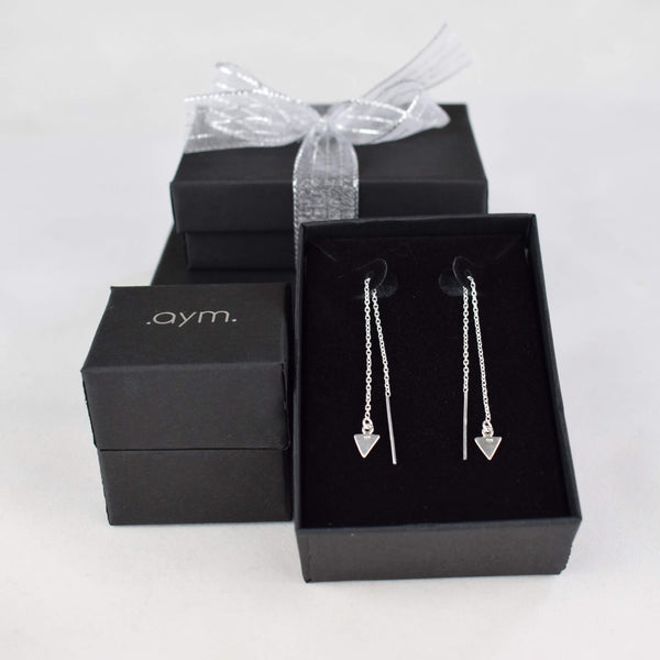 Sterling Silver Arrow Chain Threader Earrings in Gift Box - aymcollections