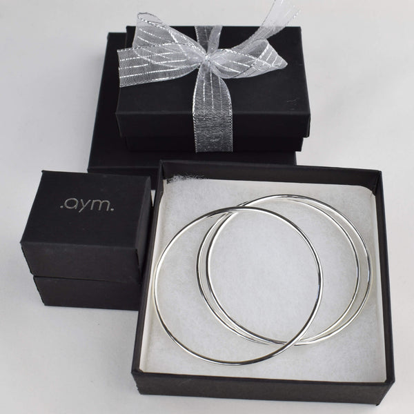 Sterling Silver Bangle Bracelets in Gift Box - aymcollections