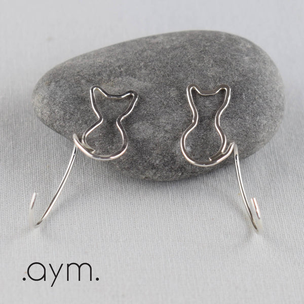 Sterling Silver Cat Threader Earrings - aymcollections