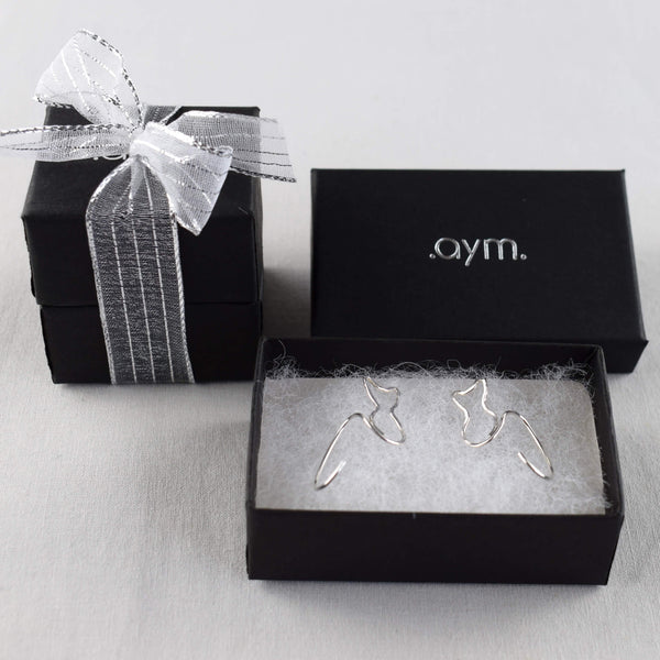 Sterling Silver Cat Threader Earrings in Gift Box - aymcollections