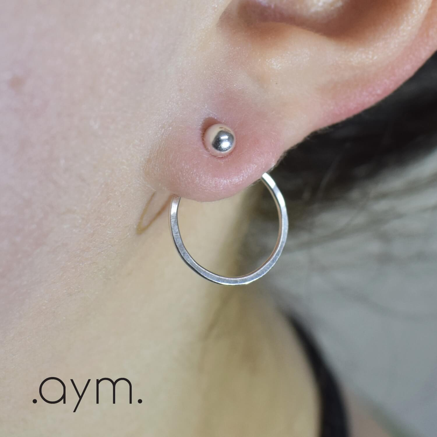 Sterling Silver Circles Ear Jackets - aymcollections