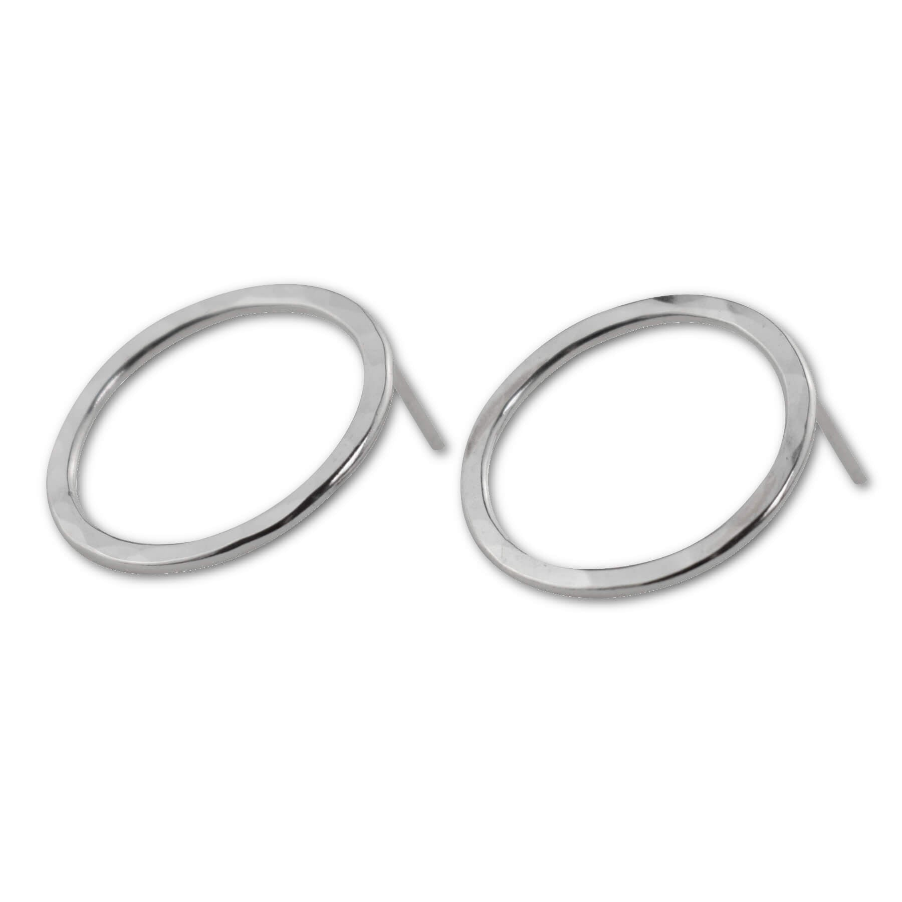 Sterling Silver Large Circle Stud Earrings - aymcollections