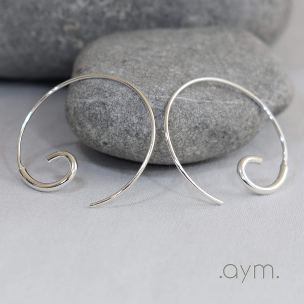 Sterling Silver Open Hoop Threader Earrings - aymcollections
