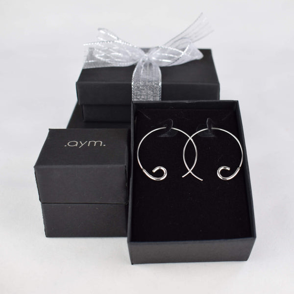 Sterling Silver Open Hoop Threader Earrings in Gift Box - aymcollections