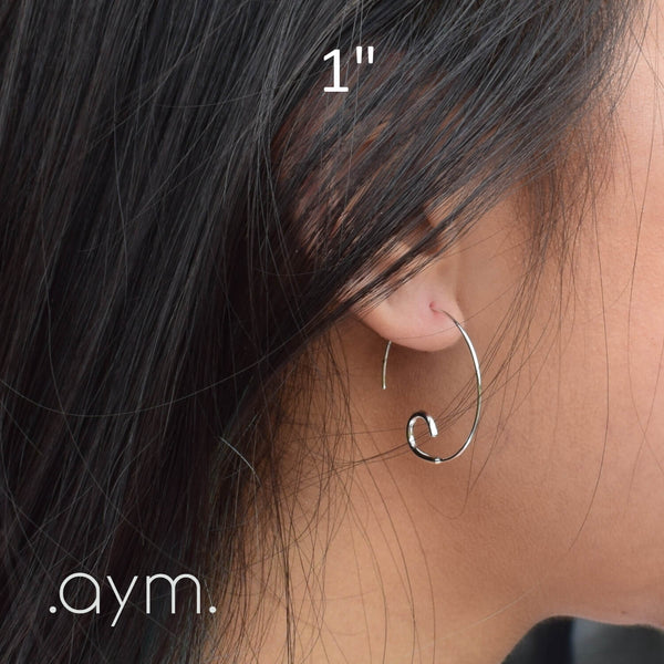 "Sterling Silver Open Hoop Threader Earrings 1"" - aymcollections"