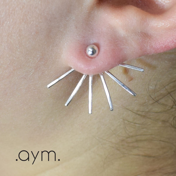 Sterling Silver Spikes Ear Jackets - aymcollections