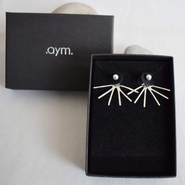 Sterling Silver Spikes Ear Jackets in Gift Box - aymcollections