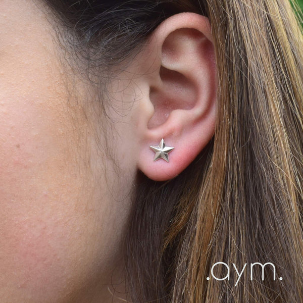 Sterling Silver Star Stud Earrings - aymcollections
