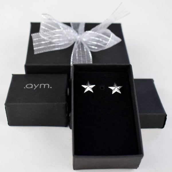 Sterling Silver Star Stud Earrings in Gift Box - aymcollections