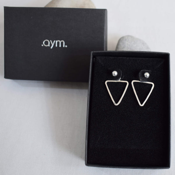 Sterling Silver Triangle Ear Jackets in Gift Box - aymcollections