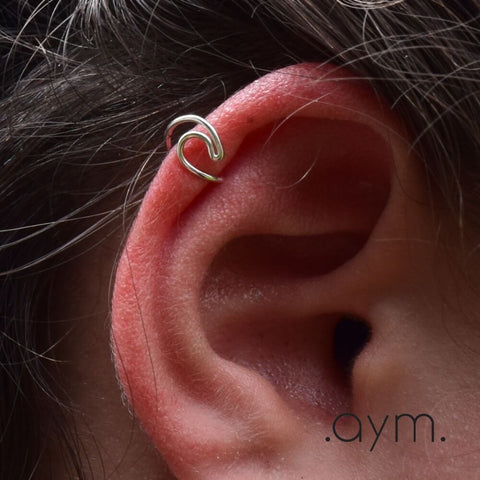 Sterlng Silver Wave Ear Cuffs - aymcollections