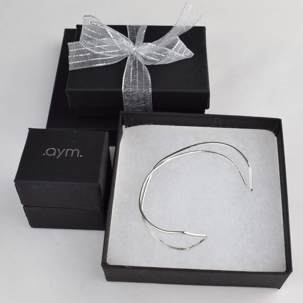 Sterling Silver X Cuff Bracelet in Gift Box - aymcollections