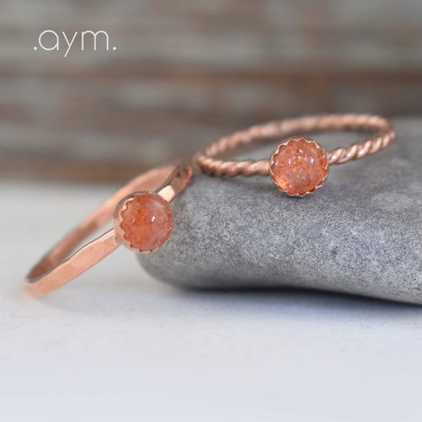 Sunstone Copper Ring - aymcollections
