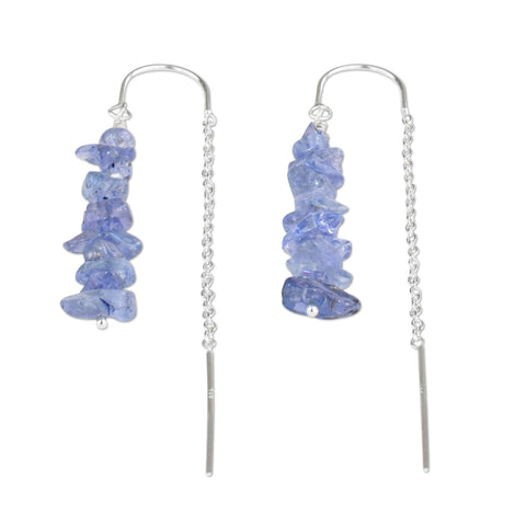 Tanzanite Crystal Chain Threader Earrings - aymcollections