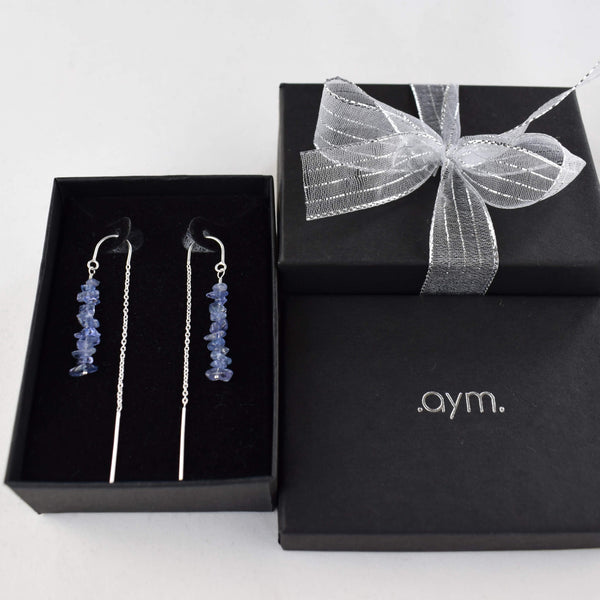 Tanzanite Crystal Chain Threader Earrings in Gift Box - aymcollections