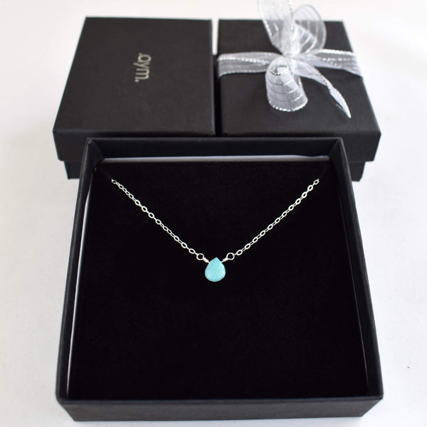 Turquoise Briolette Necklace in Gift Box - aymcollections