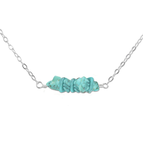 Turquoise Crystal Bar Necklace - aymcollections