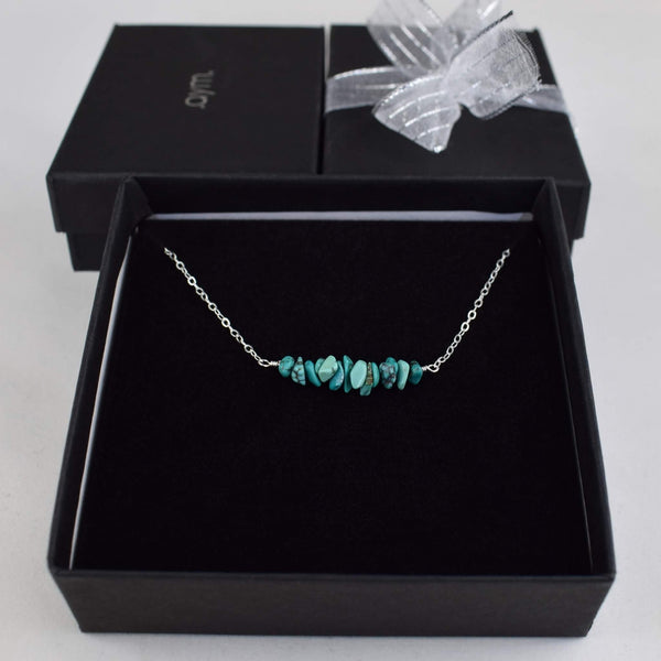 Turquoise Crystal Bar Necklace in Gift Box - aymcollections