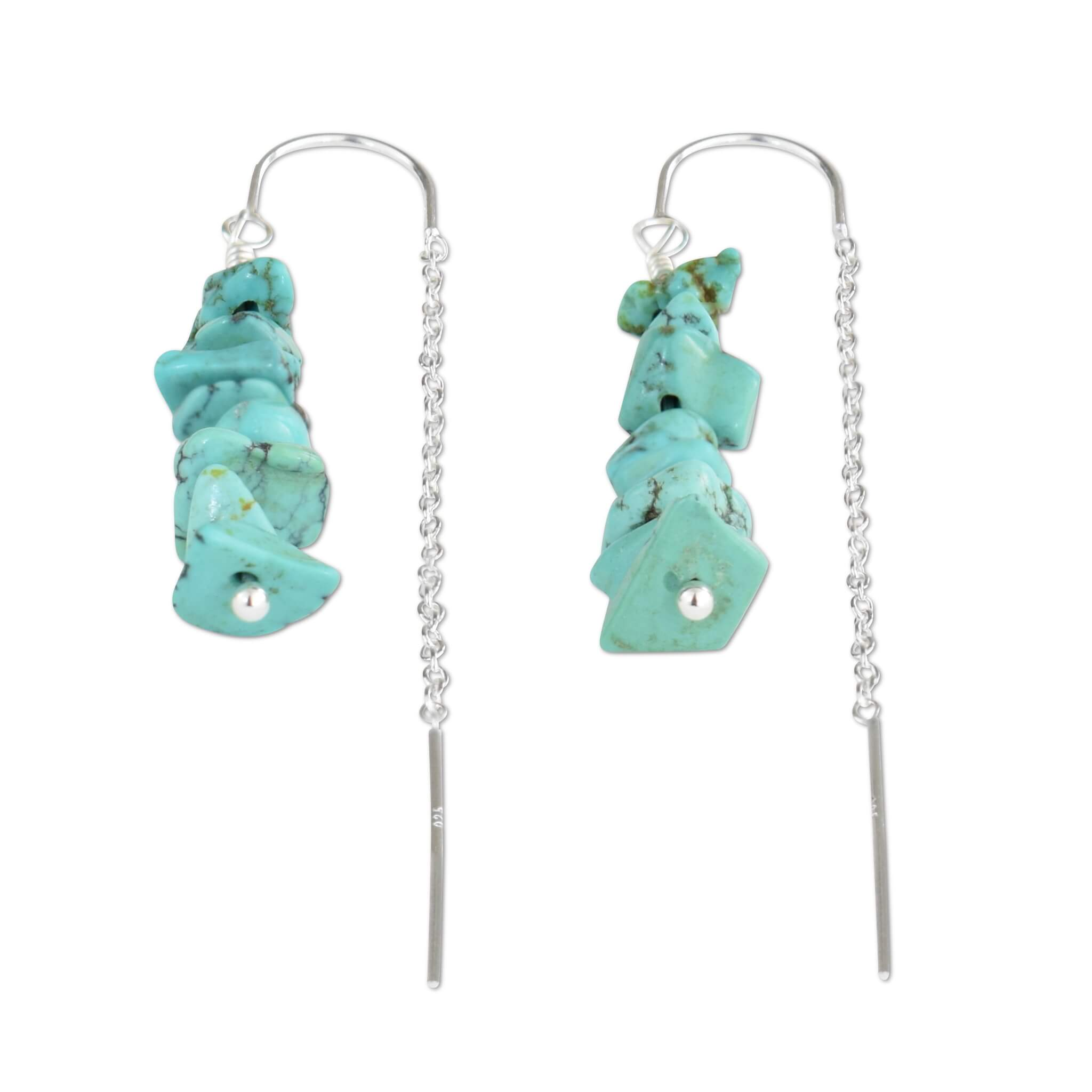 Turquoise Crystal Chain Threader Earrings - aymcollections