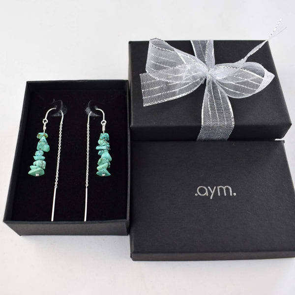 Turquoise Crystal Chain Threader Earrings in Gift Box - aymcollections