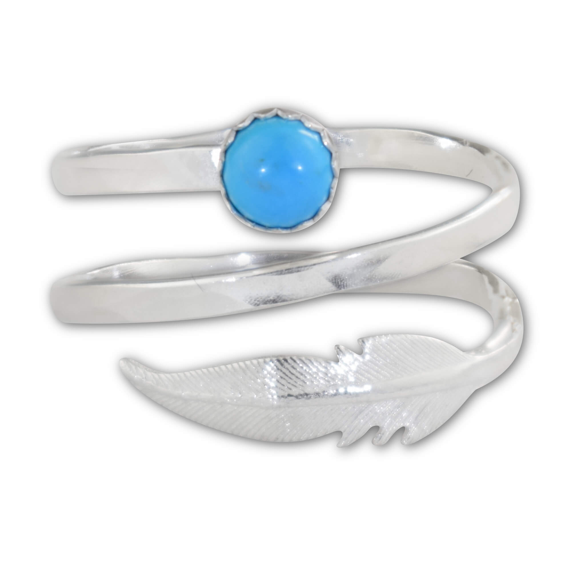 Turquoise Sterling Silver Feather Spiral Ring - aymcollections