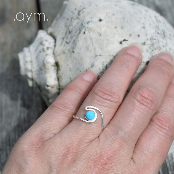 Turquoise Sterling Silver Wave Ring - aymcollections