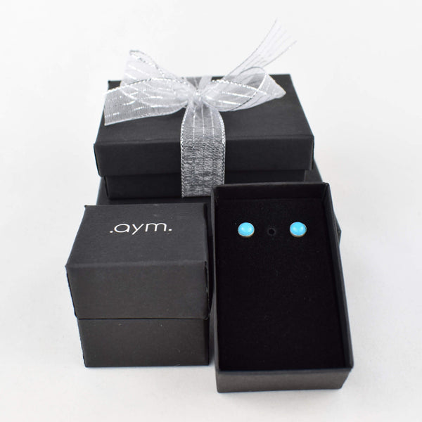 Turquoise Stud Earrings in Gift Box - aymcollections