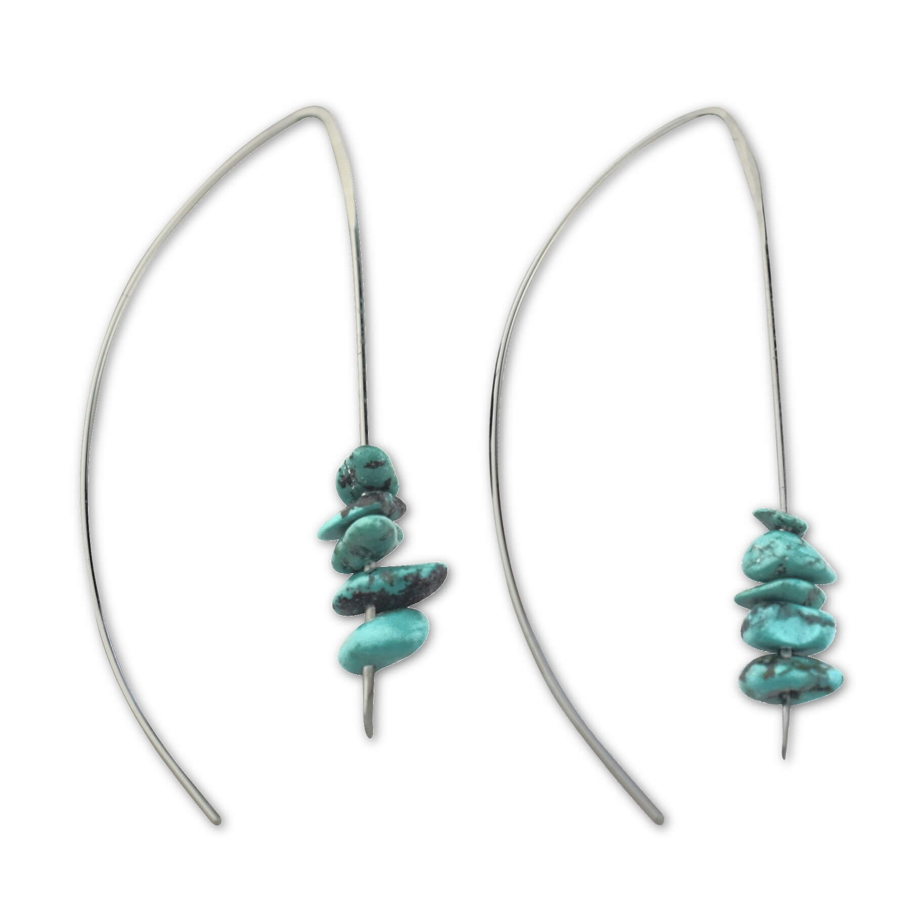 Turquoise Sterling Silver Wire Threader Earrings - aymcollections