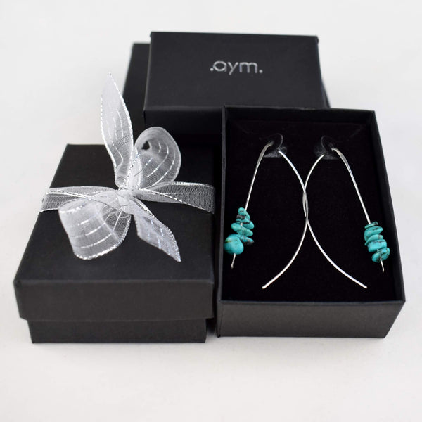 Turquoise Sterling Silver Wire Threader Earrings in Gift Box - aymcollections