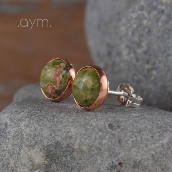 Unakite Stud Earrings - aymcollections