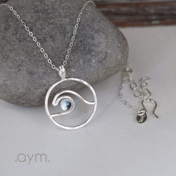 Wave Pendant Necklace with Blue Topaz - aymcollections