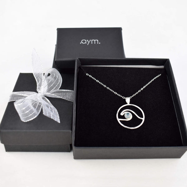 Wave Pendant Necklace with Blue Topaz in Gift Box - aymcollections