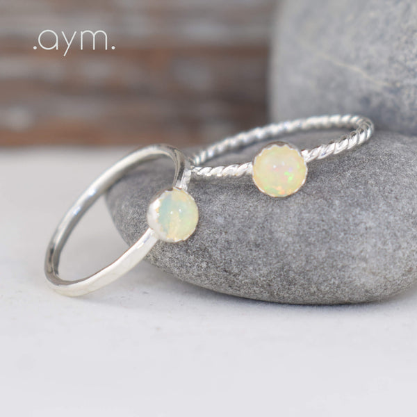 Opal Sterling Silver Ring - aymcollections