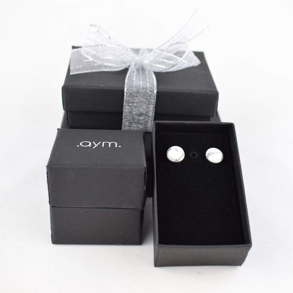 White Howlite Stud Earrings in Gift Box - aymcollections