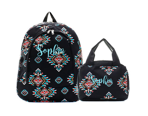 Black Aztec Southwest backpack and lunch bag