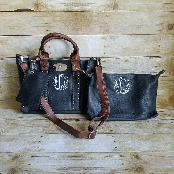 Monogrammed Purse and cosmetic bag set in Black Chocolate - Personalized handbags - Atlanta Monogram