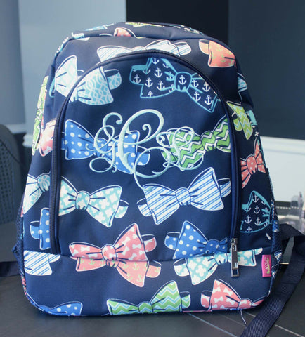 Bow tie backpack monogrammed personalized backpack - Atlanta Monogram