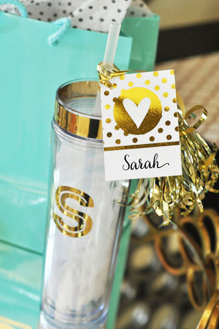 Metallic Gold Monogram Tumblers - Atlanta Monogram