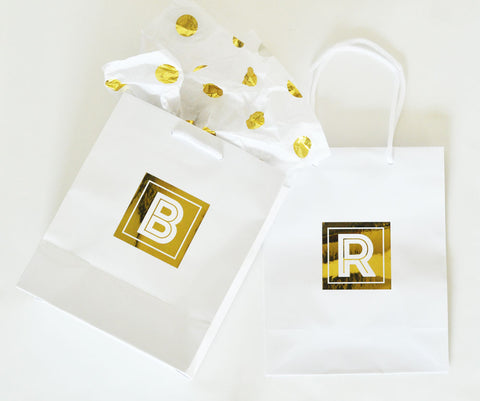 Personalized gift bags in pink, white, or black - Atlanta Monogram