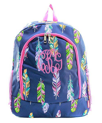 Monogrammed Navy and Pink Feather backpack - Atlanta Monogram
