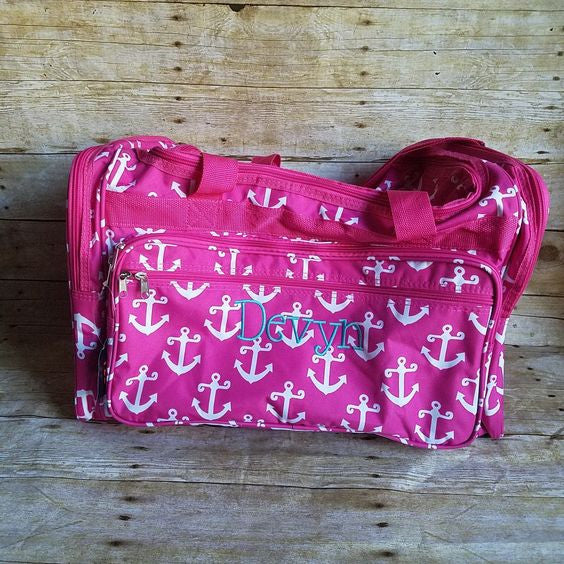 Monogrammed Pink Anchor Nautical duffel bag - Atlanta Monogram